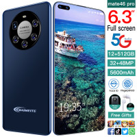 5G 6.3 inch Android smart phones 12+512GB 32+48MP Camera 4800mah Battery Print Face ID Telephones Mobile Phones